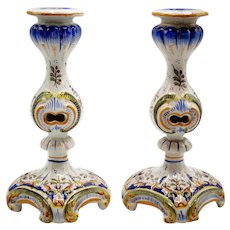 Hand Painted French Faience Candlesticks Candle Holders, Pair