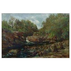 Antique Oil 'A Rocky River' by Sebastopol Samuel Holland (Fl.1877-1911)