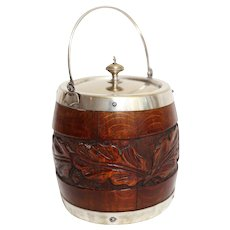 English Oak Biscuit Barrel or Ice Bucket