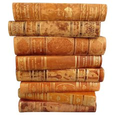 Decorative Leather Books, Set of 8, Marble Boards