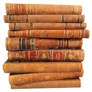 Decorative Leather Books, Set of 9, Marble Boards
