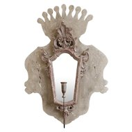 French Rococo Mirrored Hanging Wall Candle Sconce