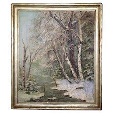 Landscape Oil Painting Celine Baekeland (1868-1957)Newcomb Macklin Frame