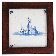 18th-Century Hanging Delft Faience Tile