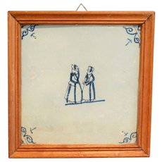 18th-C. Framed Dutch Delft Tile