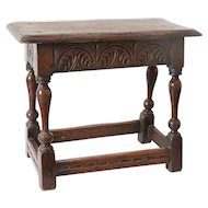 Antique 19th-Century English Oak Joint Stool