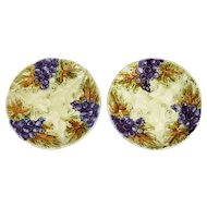 French Grape Majolica Plates, Pair