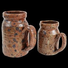 Early French Pottery Pitchers Jugs, Set of 2