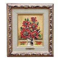 "Vintage Wildflower Floral Still Life Original Oil Painting ""Florals Impasto"" by Julian Marc"