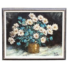 Large 1960s Vintage Botanical Floral Still Life Original Oil Painting by Joseph Duv