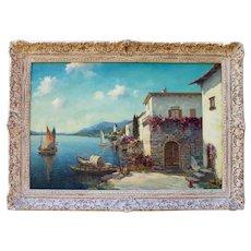 Antique Original Oil Painting Italian Mediterranean Seascape Landscape by Alfredo Caldini