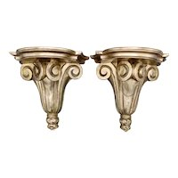 Italian Neoclassical Giltwood Wall Shelves - a Pair