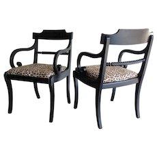 Hollywood Regency Klismos Ebonized Chairs, Pair