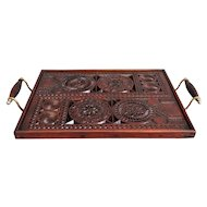 English Carved Mahogany Serving Tray with Brass Handles