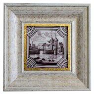 19th-Century Dutch Delft Polychrome Tile, Framed, Tower