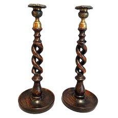 Antique English Oak Twist Candlesticks, Pair
