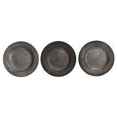 Antique Pewter Plates, Set of 3, Continental European