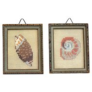 English Hand Crafted Wool Needlepoint Shells, Set of 2
