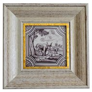 19th-Century Dutch Delft Polychrome Tile, Framed, Cattle