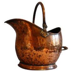 Large Antique English Copper Coal Scuttle Hod