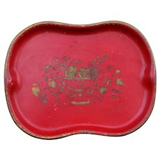 Hand Painted Red & Gilt Tole Tray, Chinese Red Color