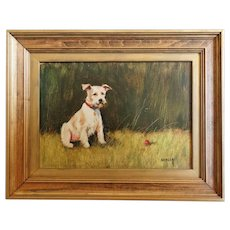 """""""Let's Play Ball' Dog Oil Painting"""