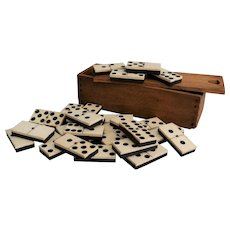Antique English Boxed Set of Dominoes, 28 Pieces