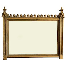 19th-C French Gilt Gothic Revival Wall Mirror