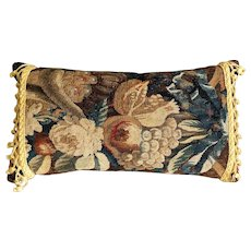 Antique French Aubusson Pillow with Passimenterie Fringe
