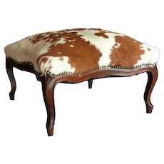 Antique French Natural Hide Ottoman