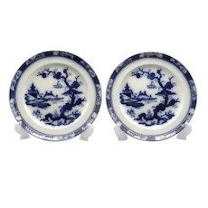 Antique English Pagoda Flow Blue Plates, Pair