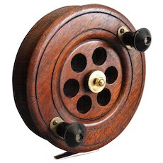Large Early Oak & Brass English Fishing Reel
