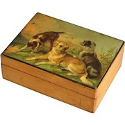 Antique English Playing Cards Box with Sporting Dogs