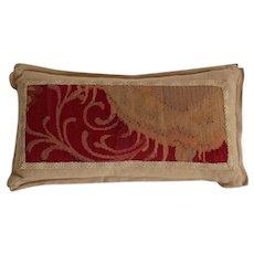 Antique French Fragment & Linen Lumbar Pillow