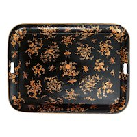 Large Early Tole Serving Tray with Dragonflies Insects