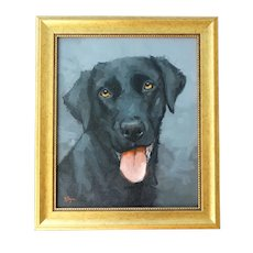 Labrador Retriever Dog Portrait Oil Painting