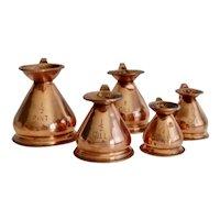 Antique Graduated English Copper Measure Haystack Jugs, Set of 5