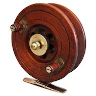Early English Walnut Salt Water Fishing Reel