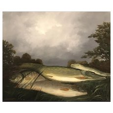 Pike & Perch Fish on River Bank, Pierre Gautiez, Marine Oil Painting