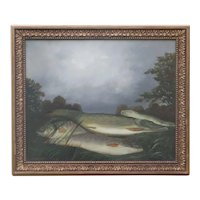 Pike & Perch Fish on a River Bank, Oil on Canvas by Pierre Gautiez (1923-2006)