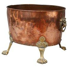 Antique English Hammered Copper Log Bin / Wine Cooler / Jardiniere