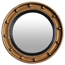 1930, English Gold Leaf Convex Bullseye Mirror