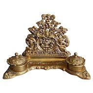 French Art Nouveau Letter Rack with Double Inkwells