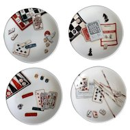 French Jeux Gien Plates, Set of 4, Canapes & Desserts