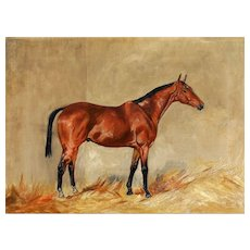 English Racehorse Portrait Oil Painting, E W