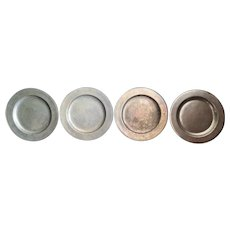 Vintage Pewter Chargers / Plates, Set of 4