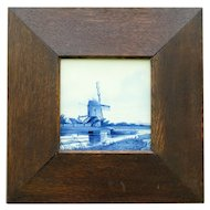 Antique Framed Delft Tile, Blue & White