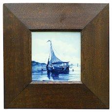 Antique Framed Delft Tile, Blue & White