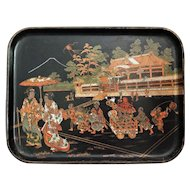 Antique French Papier Mache Tray, Asian Design