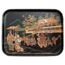 Antique French Papier Mache Tray, Asian Design